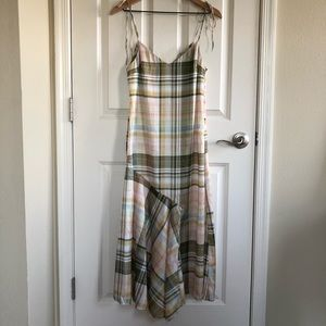 NWT Zara Satin plaid panel dress in size medium
